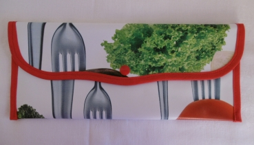 Cutlery bag oilcloth - vegetables red