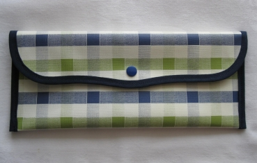 Cutlery Bag Oilcloth - Checked Blue-Green