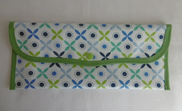 Cutlery Bag Oilcloth -  Ornaments green/blue