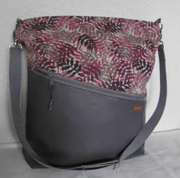 Shoulder bag Shopping bag gray - leaves berry + Extra