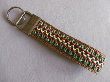 Key chain with jewelry ribbon and  Old brass clasp
