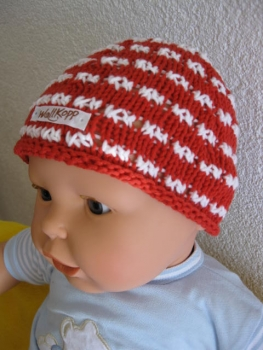 Summer baby hats with rolled rim and openwork stripes