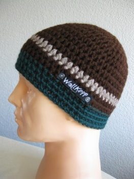 Beanie men cap with Reflector-yarn, Lukida size about. 55-59 (coffee-brown)